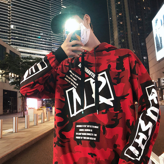 Hot 2018 Red Camouflage Hoodie Men Fashion Sweatshirts Brand Orignal Design Casual Pullover For Me Autumn L209 by Sexe Mara