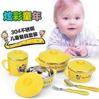 4Pcs/Set Baby bowl spoon fork with lid Stainless Steel Tableware Set Feeding Food Tableware Kids Dishes Dinnerware Anti hot Gift