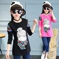 Camisa dos miúdos t impressão camisa de manga longa para 5 6 7 8 9 10 11 12 13 t Primavera 2017 Partes Superiores das Meninas Adolescente Meninas Moda T-shirt Da Menina desgaste