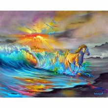 "Diy Full drill 5D DIY Diamond Painting""Beach Horse ""Embroidery Cross Stitch Rhinestone Mosaic Painting gift(China)"