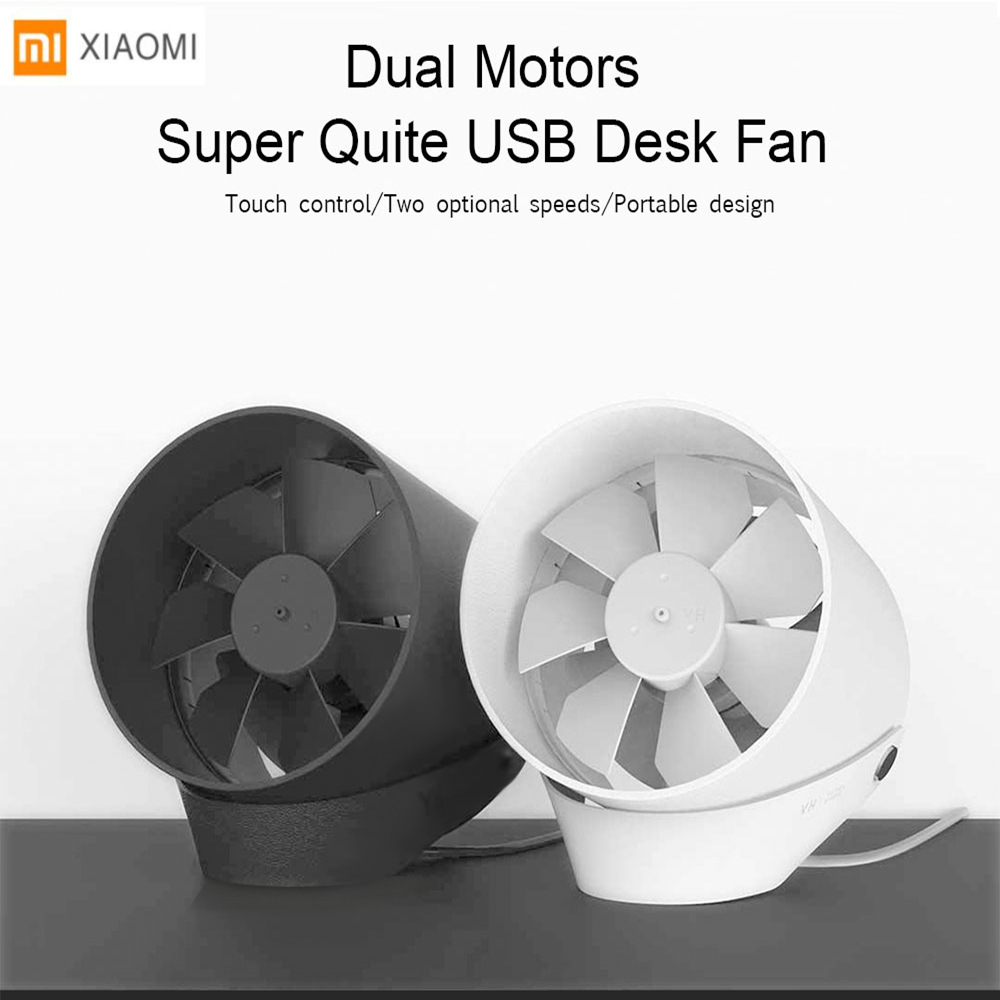 Original Xiaomi VH Mini Desktop Fan Portable Ventiladors USB Mijia Fan Ultra Quiet Smart Touch Control Cooler Dual Motor Drivers xiaomi vh fan stylish double blade mute cycle desktop silent fan low noise touch sensor switch and second gear adjustable