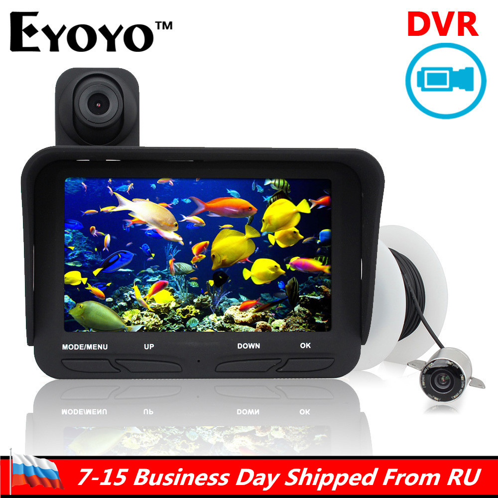 Ship From Russian! Eyoyo Original 20m Professional Fish Finder DVR Video Infrared LED Underwater Fishing Camera+Overwater Camera eyoyo 20m professional night vision underwater fishing camera fish finder dvr video infrared led overwater camera free 32gb card href