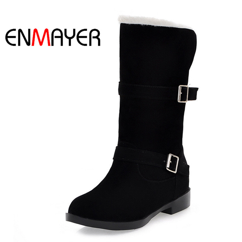 ENMAYER Snow Boots Winter Warm Slip-on Shoes Casual Cotton Flock Buckle Women's Mid-Calf Women Boots Round Toe Female Shoes купить дешево онлайн