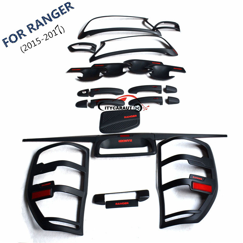 FOR 2015-2017 ford RANGER front tail lamp Handle cover bowl cover rear trunk lid accessory accessories complete set car auto accessories rear trunk molding lid cover trim rear trunk trim for nissan sunny versa 2011 abs chrome 1pc per set