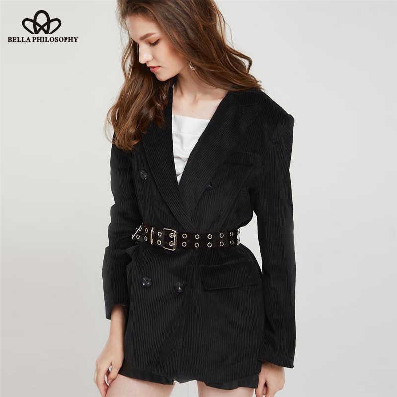 6b5c8830ac45 Pregunto 2018 nueva moda de Otoño de pana de invierno chaqueta gruesa Retro  doble Breasted blazer