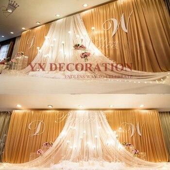 Tanie ceny najwyższej Swag draperia Ice Silk ślub tło kurtyny etap tło Phto Booth dekoracje na przyjęcia na specjalne okazje