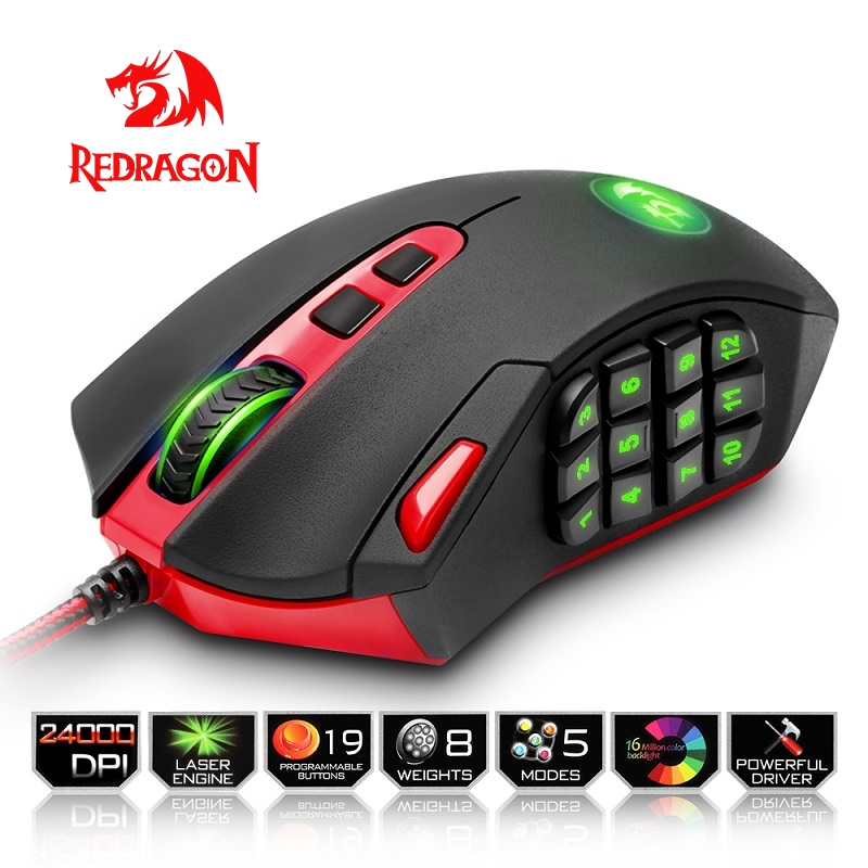 Redragon игровой Мышь PC 16400 Точек на дюйм Скорость Лазерной двигателя 18 программируемых кнопок высокоскоростной USB проводной для рабочего стола...