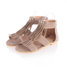 LISM 2018 summer fashion Roman classic sandal tassel rivet flat sandals large size womens shoes 34-43 rear zipper