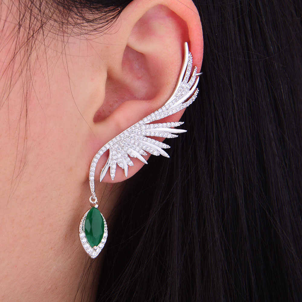 GODKI 70mm Feather Fashion Popular Luxury Iregular Geometry Earring Full Cubic Zirconia Pave Earring
