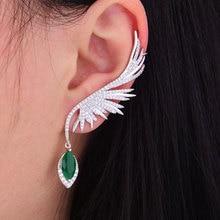 GODKI 70mm Feather Fashion Popular Luxury Iregular Geometry Earring Full Cubic Zirconia Pave Earring
