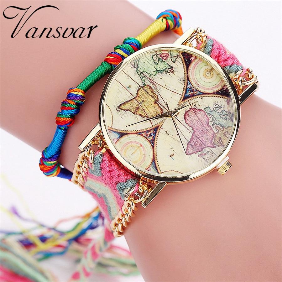 Luxury Brand Braided Strap Womne Watch World Map Print Bracelet Watch Ladies Quarzt Wristwatches Clock Gift Relogio Feminino #W