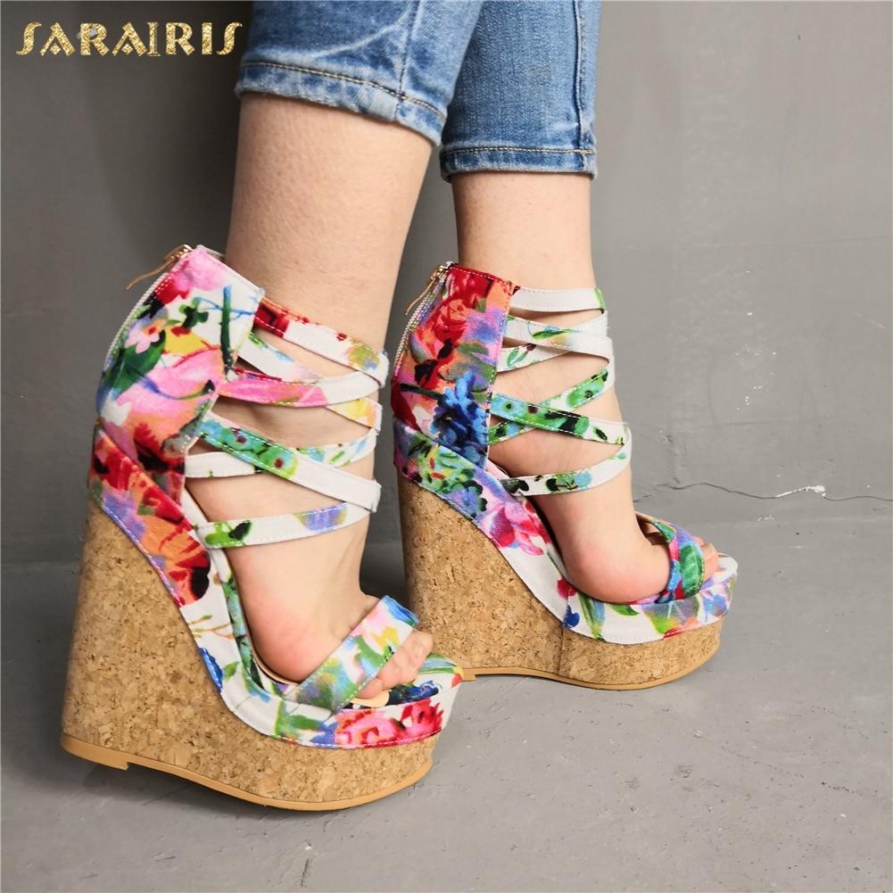 SARAIRIS Sexy grande taille 47 sandales de fête femmes chaussures élégant plate-forme de bal chaussures à semelles compensées talons hauts chaussures femme sandales