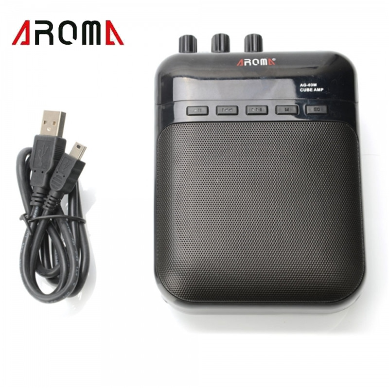 Aroma AG-03M 5W Guitar Recorder Speaker TF-Card Slot Compact Guitar Amplifier+USB Data Line Guitarra Parts Guitar Accessories