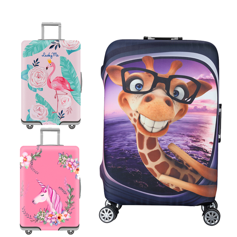 Flamingo Waterproof Luggage Cover Protector Cartoon Suitcase Protective Covers Apply To 18-32'' Cases Travel Accessories 215