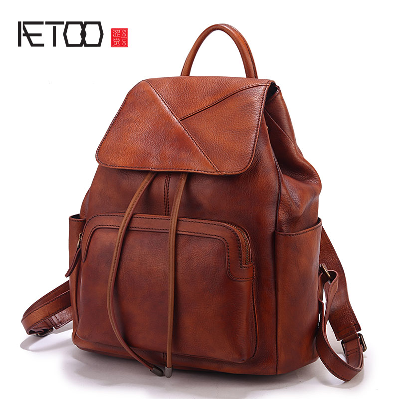 AETOO Handmade retro female bag large capacity first layer cowhide shoulder bag leather ladies shoulder bag male travel bag aetoo spring and summer new leather handmade handmade first layer of planted tanned leather retro bag backpack bag
