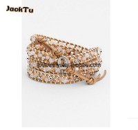 2016 hot fashion pink crystal seed beads beige leather wrap bracelet