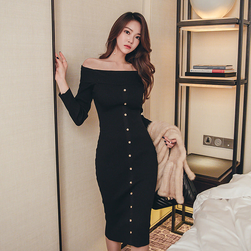 Fashion Off Shoulder Slash Neck Long Sleeve Women Single Breasted Dress Slim Bodycon Knitted Sweater Party Night Dress