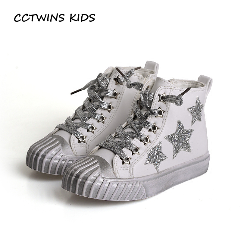 CCTWINS KIDS 2017 Children Pu Leather Glitter Sport Trainer Baby Girl Kid High Top Flat Toddler Boy Fashion Star Shoe F1790