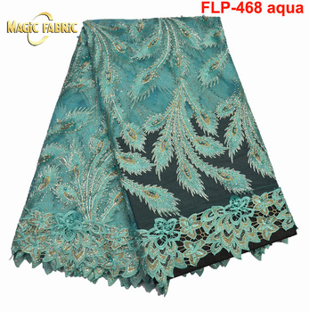 2017 Newest Modern Design French Lace Fabric African Tulle Lace Fabric for Woman Clothes Dress FLP-468