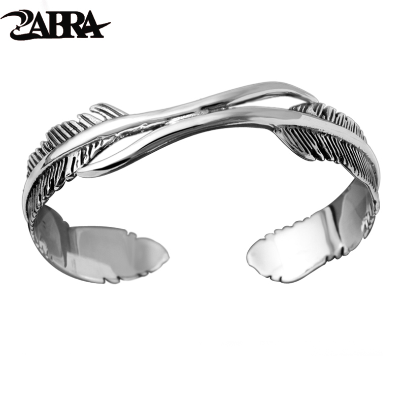 925 Sterling Silver Feather Shape Open Cuff Bangle Bracelet for Men or Women Puck Classic Retro Style Hip Hop Party Rock Jewelry trendy christmas style elk shape cuff ring for women