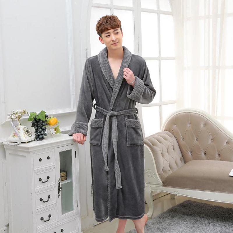 Thick Warm Kimono Sleepwear For Women Men Gray Lovers Flannel Long Robe Winter Casual Home Dressing Gown Bathrobe Nightgown M XL