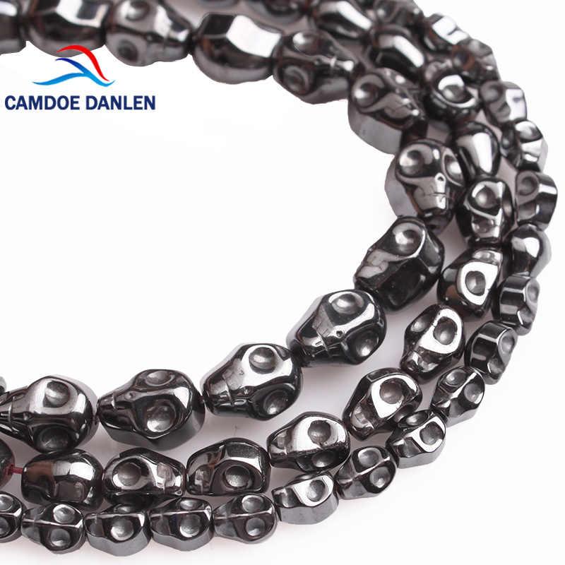 CAMDOE DANLEN Natürliche Stein Schwarz Hämatit Schädel Perlen Diy Handgemachte Spacer Perlen Für Schmuck Armband Halskette, Großhandel