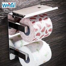 WEYUU Туалет Бумага держатели SUS304 нержавеющая сталь двухслойные брюки рулон вешалка, полки для ванной Аксессуары для ванной комнаты хромированная отделка