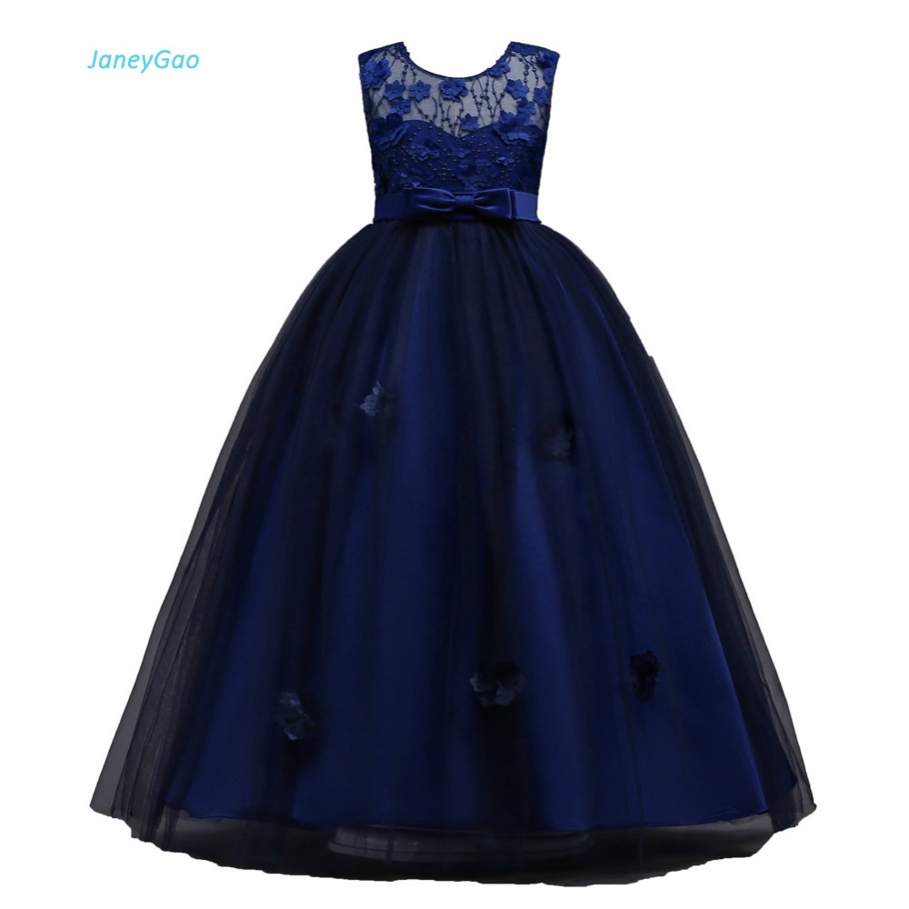 JaneyGao Flower Girl Dresses For Wedding Party Prom Birthday First Communion Formal Gown Teenage Lace Dresses Tulle  Appliques