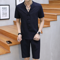 Summer Short Sets Men Casual Suits Linen Tracksuit Stand Collar Male Outwear T Shirt +pants Chinese Traditional Costume Men 5XL
