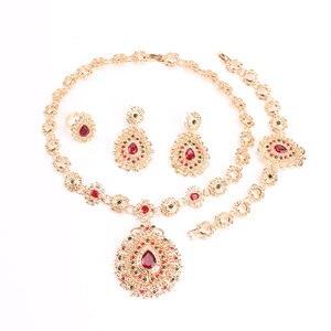 Image 3 - כלה תכשיטי סטי זהב צבע תכשיטי סט טרנדי שרשרת עגילי צמיד סט לנשים דובאי תכשיטי סט + קופסות מתנה