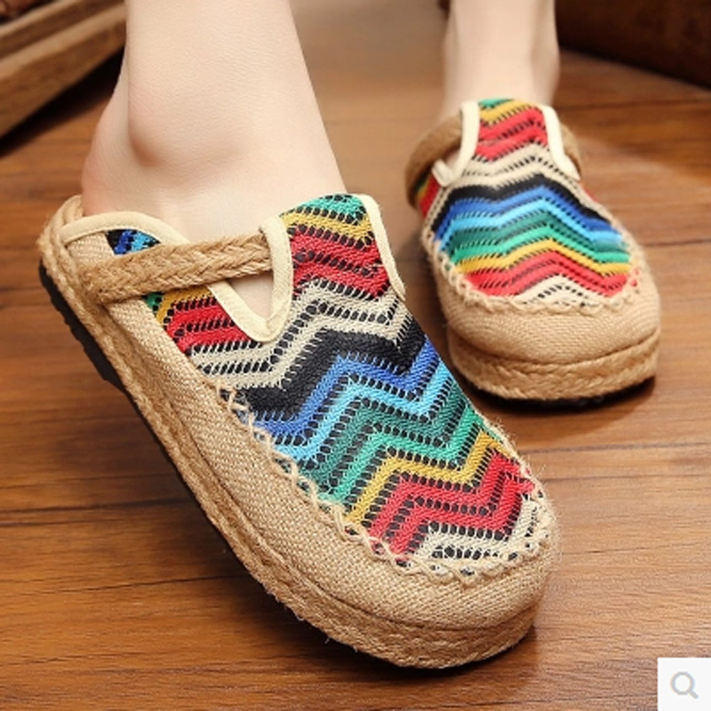 ФОТО Retro Fabric Linen Cloth Slippers Chinese Style Printing Slip On Women Sandals Canvas Women Flats Old Peking Summer Shoes