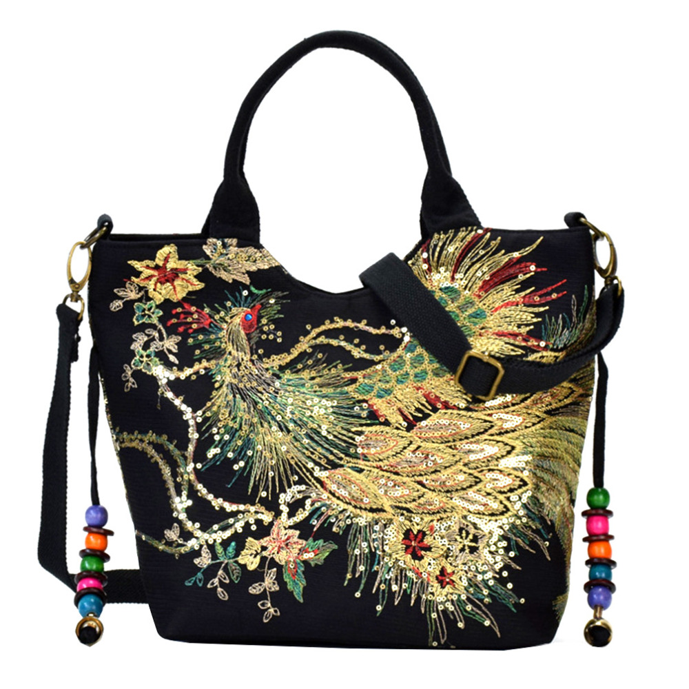 Vbiger Women Canvas Shoulder Bag Peacock Embroidery Handbag Stylish Tote Bags Casual Cross-body Bag With Decorative Pendants