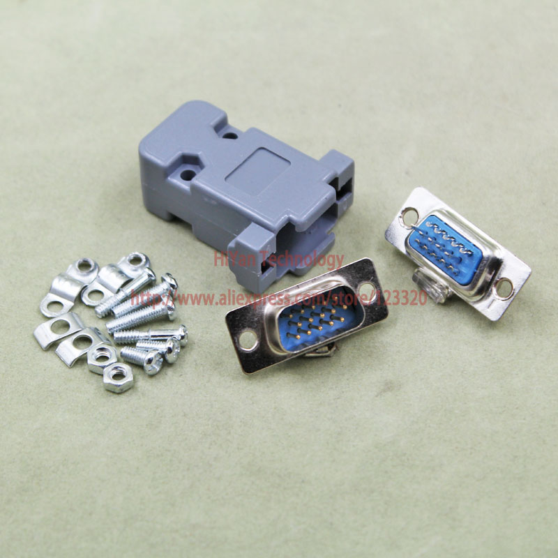(10pcs/lot) DB15 3Rows Parallel VGA Port HDB9 15 Pin D Sub Male Solder Connector + Plastic Shell Cover 10 pcs d sub 15 pin male solder type plug adapter vga connector serial ports db15m