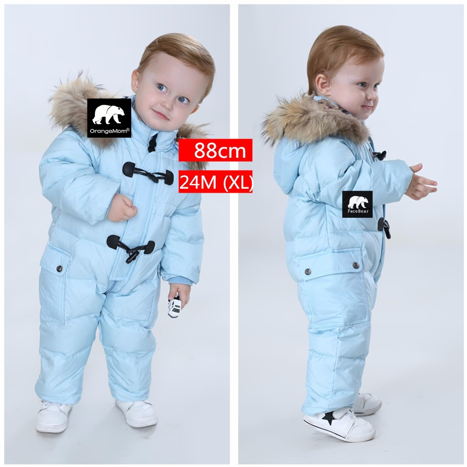 jumpsuit kids winter baby snowsuit nature fur 90 duck down jacket. Black Bedroom Furniture Sets. Home Design Ideas
