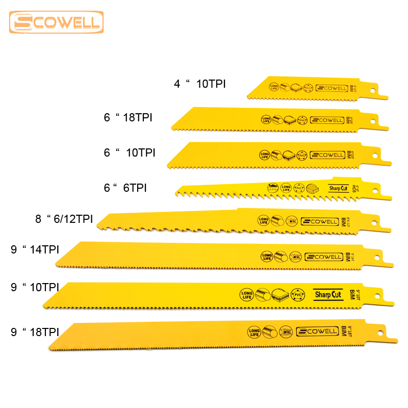 """30٪ تخفیف 5 عدد / قطعه 6 """"8"""" 9 """"12"""" HSS بی متال Reciprocating Blades برای برش چوب فلزی ، بهترین تیغه های اره منبت کاری 5T / 6T / 10T / 14T / 18T"""