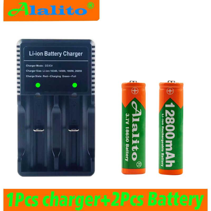 Alalito 18650 Батарея 3,7 в 12800 мАч перезаряжаемая литий-ионная батарея для игрушек светодиодный фонарик вспышки электроинструменты + USB зарядное устройство