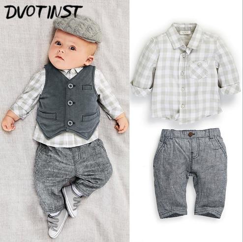 Baby Boys Clothes Full Sleeve Gentleman Grey Formal Suit Plaid Shirt+Vest+Pants 3pcs Set Outfit Infantil Toddler Wedding Costume