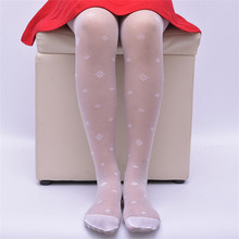 New summer kids girls tights 3-12Y Transparent flowers floral jacquard pattern pantyhose children stockings for baby