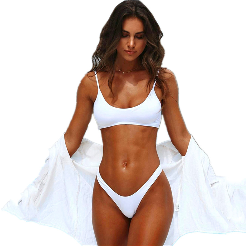 BOKONI 2017 Sexy Thong Bikini Sets White brazilian women bikinis sexy female swimsuit Low Waist Swimwear 4 Color beach wear