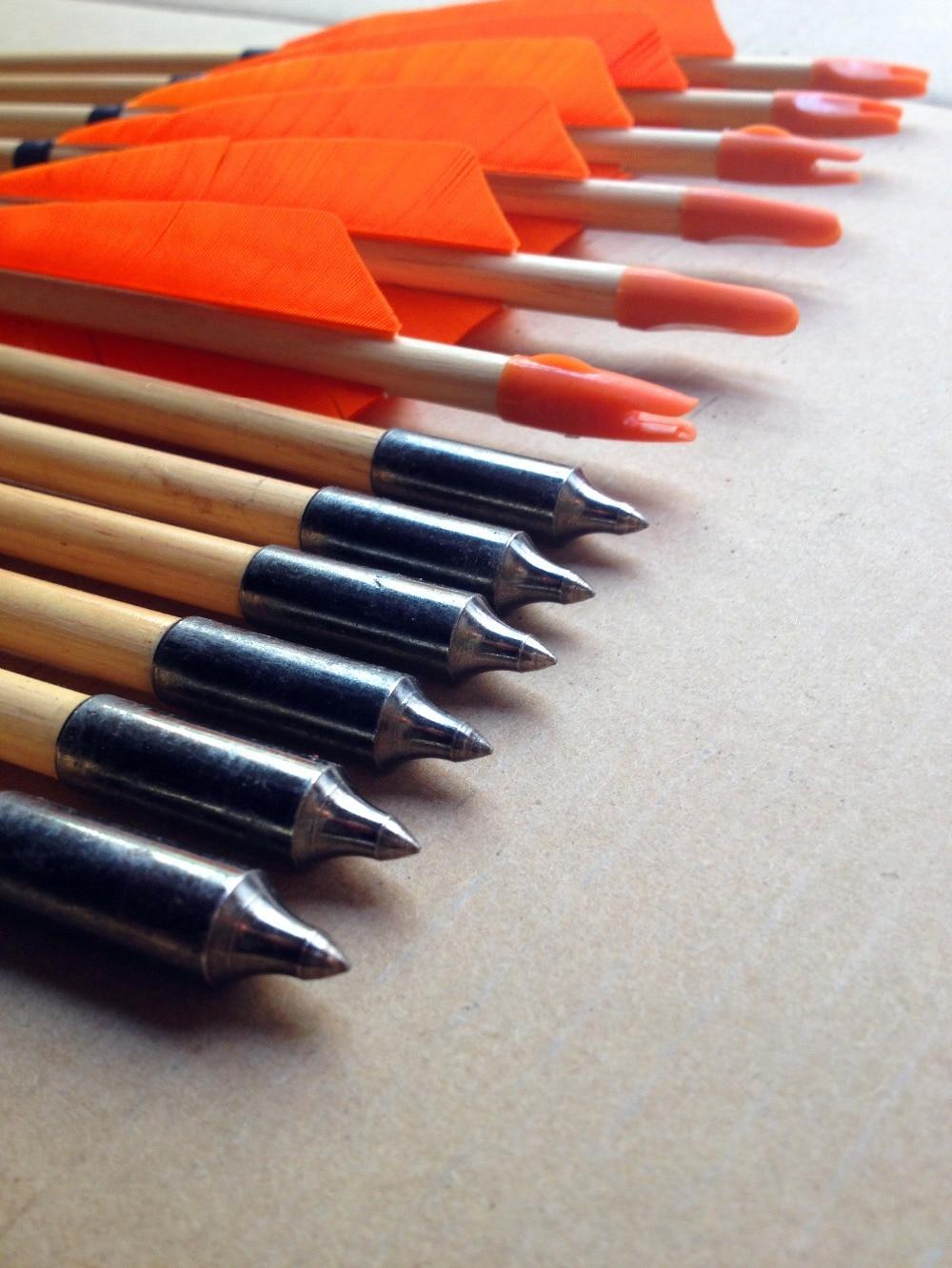 12 pcs tranditional wooden arrow turkey feather wood arrows archery bow hunting