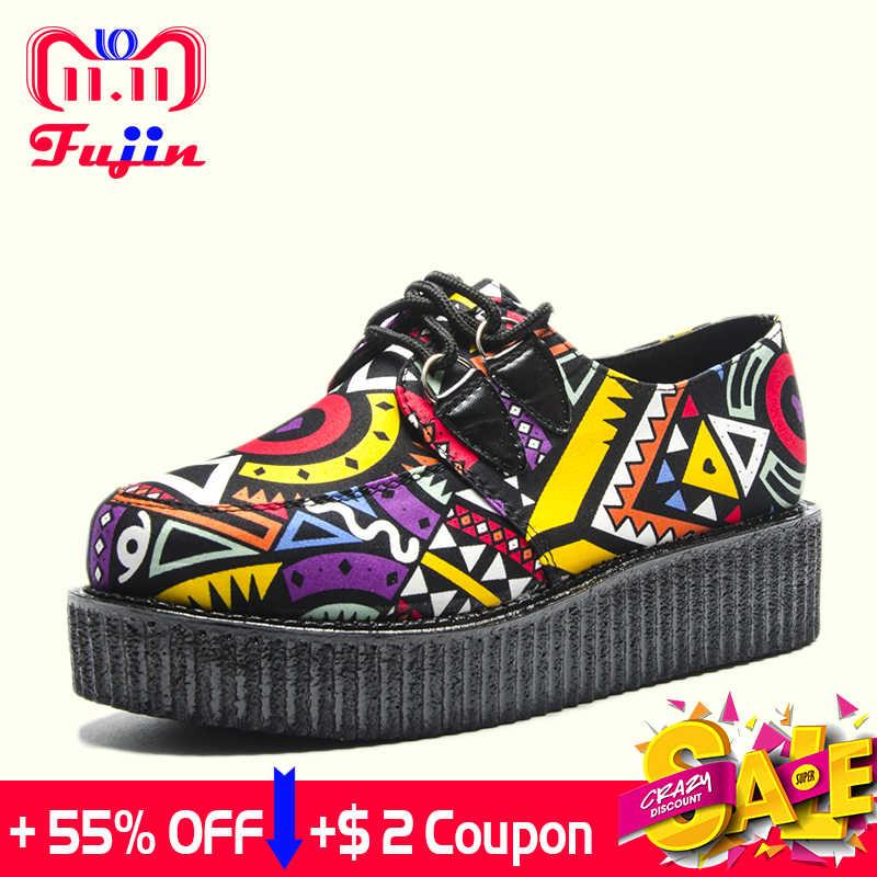 Fujin/Брендовая женская повседневная обувь на толстой подошве обувь на плоской платформе с круглым носком Летняя женская обувь модная замшевая обувь на толстой подошве со шнуровкой