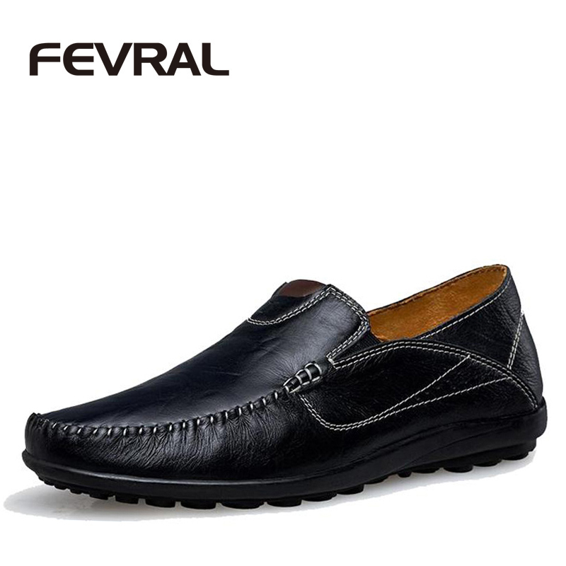 FEVRAL Brand New Loafers Men's Genuine Leather Shoes Slip On Driving Shoe Moccasins Men Flats Fashion Chaussure Homme Size 37~45 new style comfortable casual shoes men genuine leather shoes non slip flats handmade oxfords soft loafers luxury brand moccasins