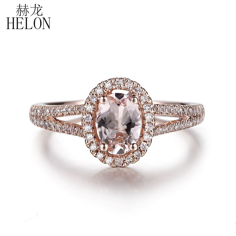 HELON Oval 7X5mm Pink Morganite Natural Diamonds Ring Solid 10K Rose Gold Fine Jewelry Engagement Wedding Diamonds Gemstone Ring helon solid 10k rose gold oval cut 7x5mm morganite natural diamond ring engagement wedding gemstone ring gift jewelry setting