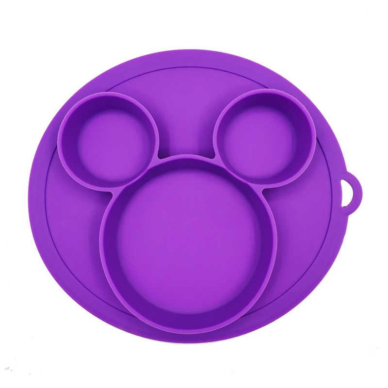 Bebê seguro silicone placa de jantar bpa livre crianças pratos forte sucção bebê treinamento talheres bonito dos desenhos animados crianças bacias alimentação