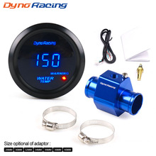 Dynoracing 2'' 52MM Car Digital Blue Led Water Temperature Gauge 40-150 Celsius With Water Temp Joint Pipe Sensor Adapter 1/8NPT car water temp temperature sensor gauge joint pipe radiator adapter 28mm 30mm 32mm 34mm 36mm 38mm 40mm