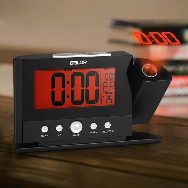 Moderner Wecker projektion wecker wand decke display wochentag temperatur orange