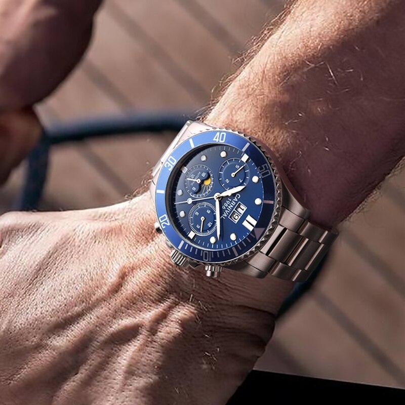 Carnaval Moon phase Mecânico Automático do relógio de homens de aço cheio Relógios Relógio Dos Homens à prova d' água reloj hombre erkek kol saati relogio