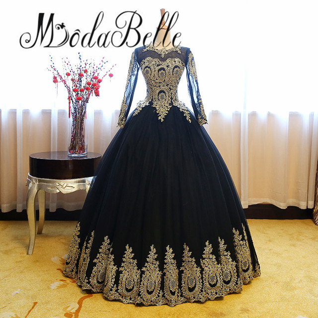 Modabelle Y Gothic Black Wedding Dresses Ball Gown With Lace Gold Bridal Tulle Robe De