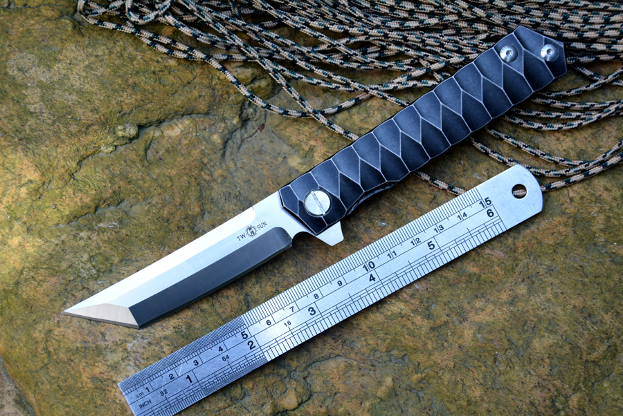 TWOSUN TS20 Fold Knife D2 Tanto blade ball bearing washer Titanium handle Outdoor Pocket Knives Hunting