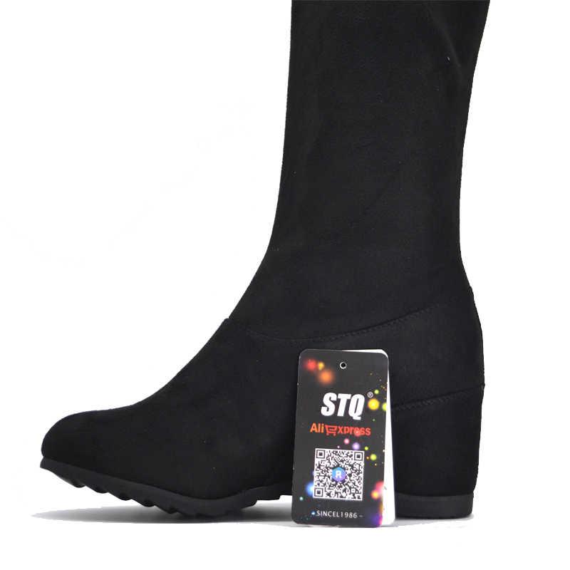 STQ 2019 Kış kadın botları kadın faux süet peluş sıcak çizmeler diz üzerinde çizmeler yüksek topuk platformu kar botları a81